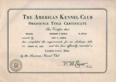 Cody Sickle Obedience Title Certificate August 16th, 1959
